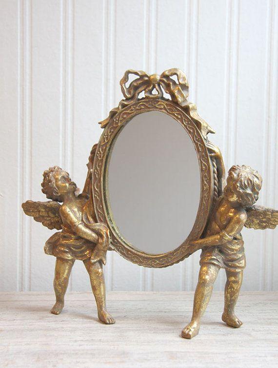 Art Nouveau Mirror Angels Cherubs Gold Mirror With