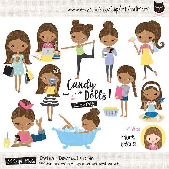 African American Girl Clipart Brown Skin Girl Lifestyle Clipart Dark Skin Girl Planner Sticker Clip Art Cute Girl Digital Sticker Clipart