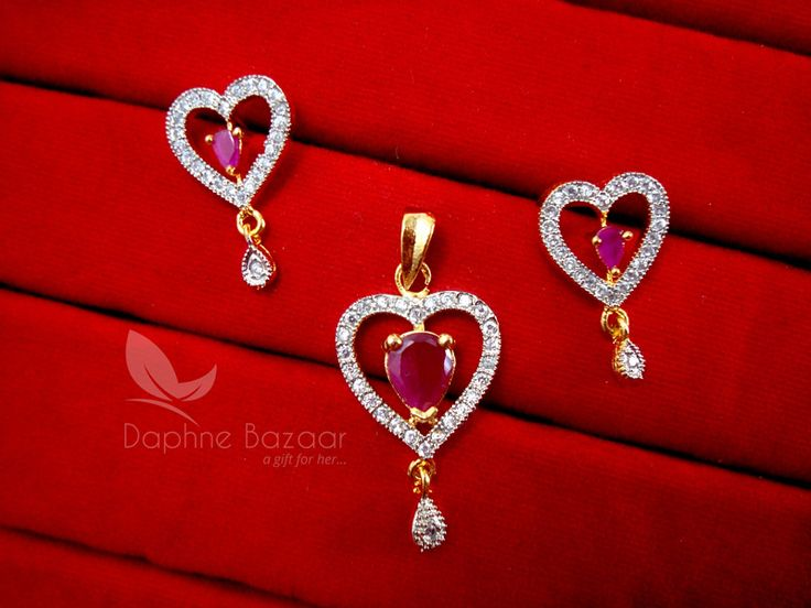 AD75, Daphne Designer Pink Heart Zircon Pendant Set for Women
