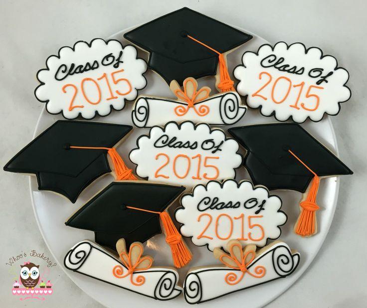 Graduation cookies, diploma cookies, graduation hat cookies, class of 2015 cookies