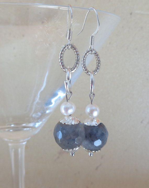 Orecchini quarzo grigio orecchini perle orecchini di Myspecialgift