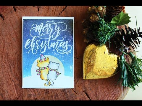Christmas Card Series 2016 - Day Three (Newtons Nook, SSS + Distress Inks) - YouTube