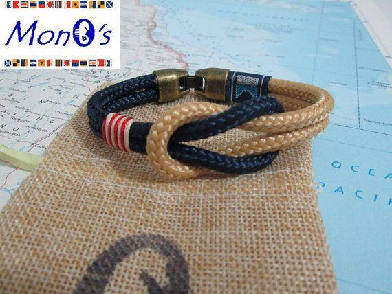 Bracciale con chiusura in Zamak Blu e beige Men's nautical bracelet with zama clasp