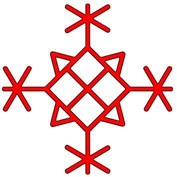 Вязь для защиты объектов недвижимости, состоит из 4-х Algiz, 4-х Teiwaz, 4-х Thurisaz и руны Othel посередине.   Этот знак можно нанести на внутреннею сторону входной двери или вырезать на дубовой дощечке, заговорить и спрятать над или под входом в дом.