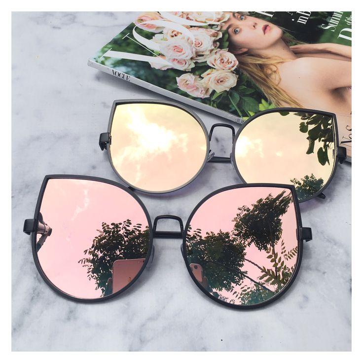 Rose Gold On Black Mirrored Sunglasses