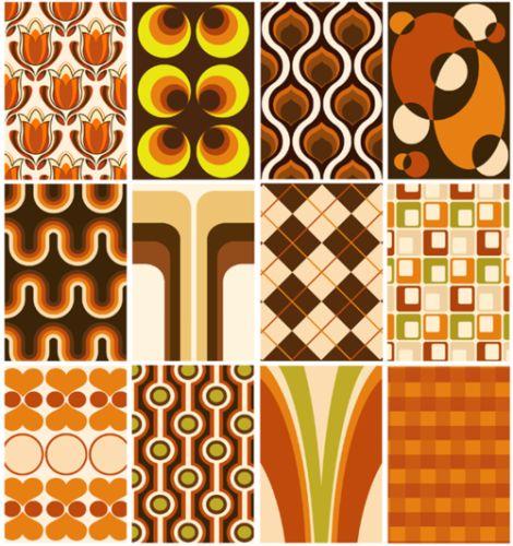 retro 70s living room wallpaper pattern samples orange brown avocado green