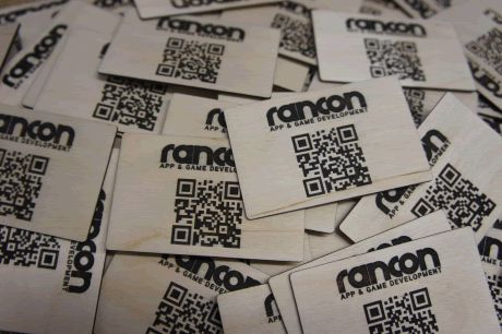 Wooden business cards with QR codes. And YES they do work!