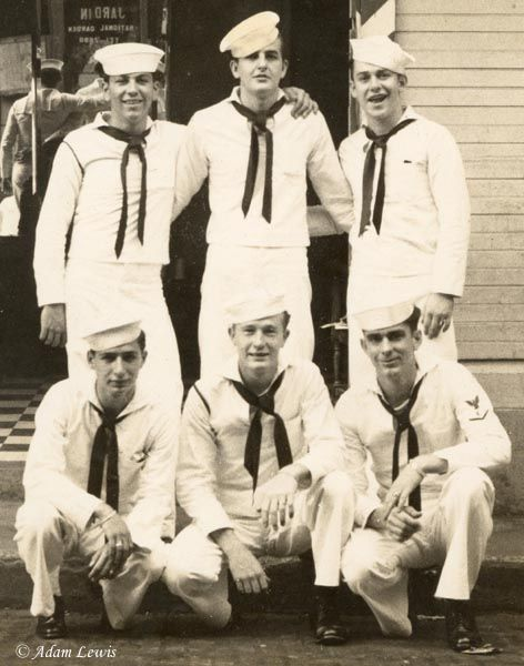 """Sailors often posed for group pictures to send home to family - often titled """"To Mom - Me and my Buddies"""""""