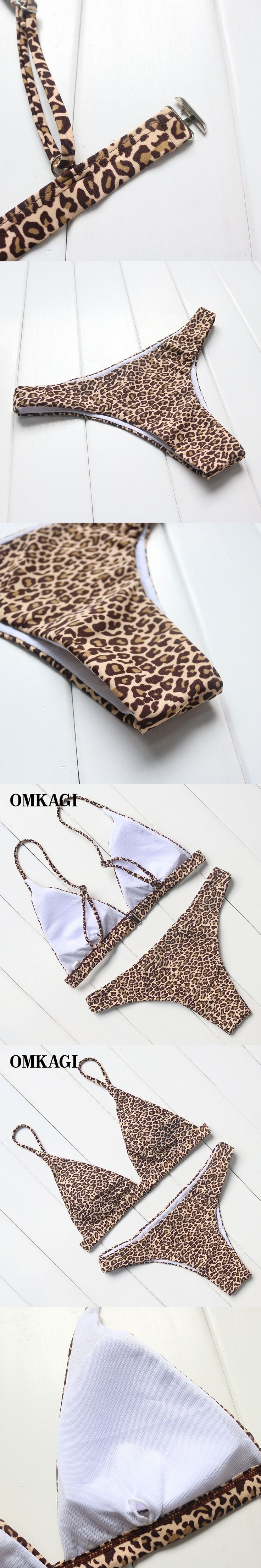 OMKAGI Brand Leopard Bikinis Women Sexy Bikinis 2017 Push Up Padded Brazilian Swimsuits Summer Bathing Suits Beach Wear Swimwear