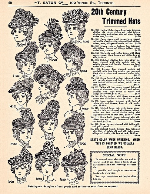 Eaton's Catalogue. (20th Century Trimmed Hats). How I wish we still dressed like this.