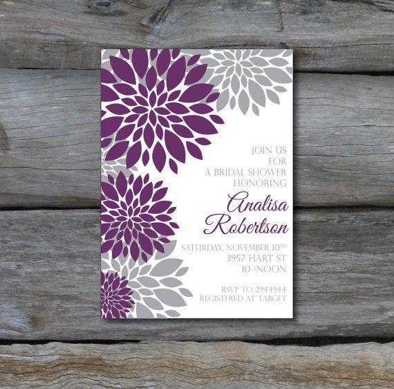 Modern Flower Bridal Shower Invite DIGITAL FILE. $15.00, via Etsy.