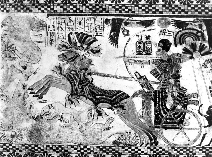 Tutankhamun hunting lions and is well-armed with arrows in his pursuit of the majestic big cats. In front of the chariot, a hound fearlessly mauls a lion already brought down by the King. Detail from left half of vaulted lid of the Painted Box (Box 21). Image: Burton photo. 1813. Griffith Institute, University of Oxford. www.griffith.ox.ac.uk