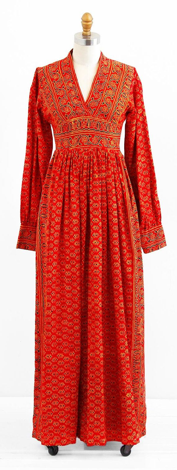 Romantic and exotic vintage early 1970s 70s dress.    ✧ by Miss India -- early London based label  ✧ red printed cotton with Indian floral motif in