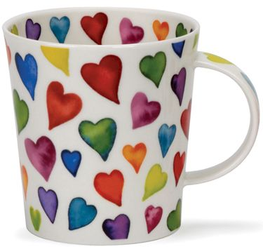 multi coloured hearts mug