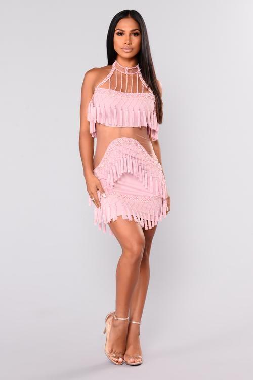 Main Attraction Fringe Dress - Blush