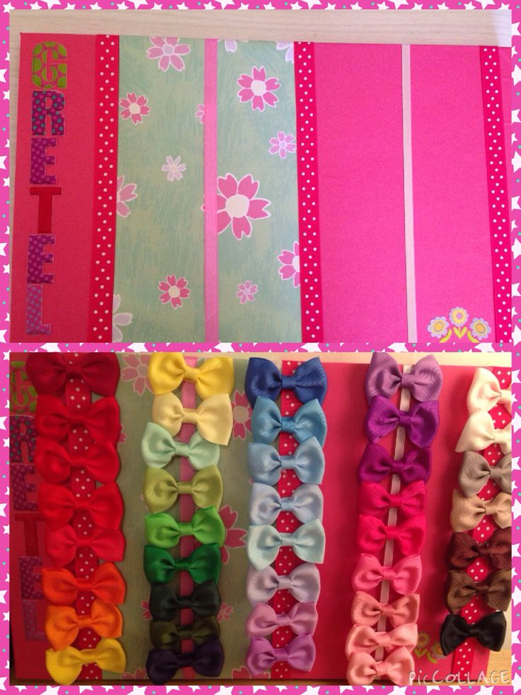 Hair clip board made for my daughters bows from paper and ribbon