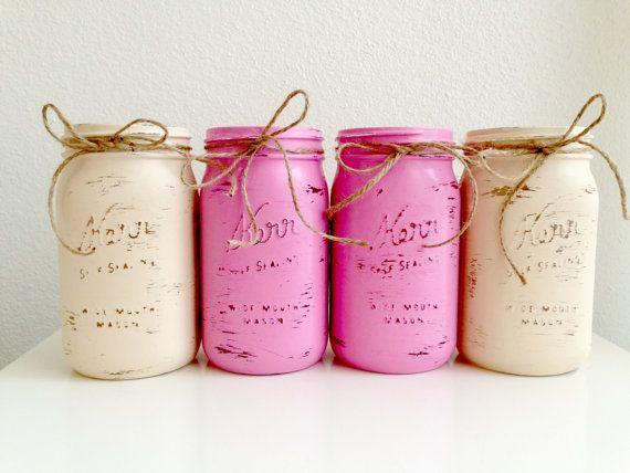 Set of 4 Shabby Chic Painted Mason Jar Vases - Pink and Cream Quart Kerr Mason Jars with Lids