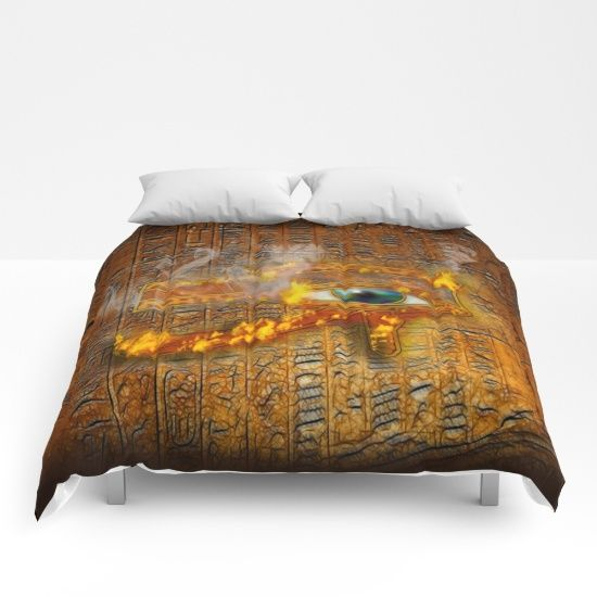 Our comforters are cozy, lightweight pieces of sleep heaven. Designs are printed onto 100% microfiber polyester fabric for brilliant images and a soft, premium touch. Lined with fluffy polyfill and available in king, queen and full sizes. Machine washable with cold water gentle cycle and mild detergent. https://society6.com/product/the-prophecy-of-fire-ancient-egypt-eye-of-horus_comforter?curator=skyeryanevans