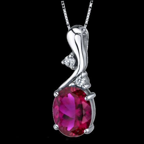 Red Ruby Oval Cut Cubic Zirconia Modern Detail Sterling Silver Pendant