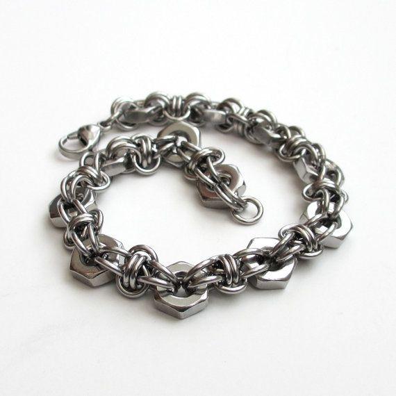 Bracciale in acciaio chainmail & esagonale dado per gli uomini