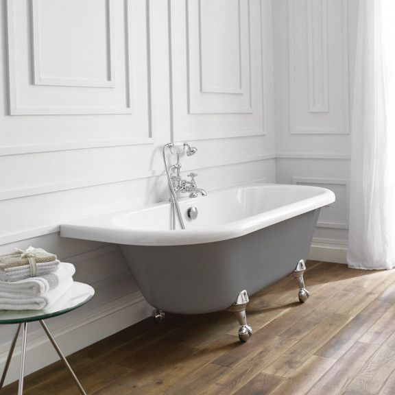 April Kildwick Back To Wall Freestanding Bath Dove Grey 1700 X 750