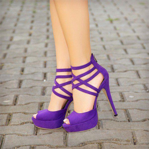 2018 pantone color of the year, pantone color of the year 2018, Purple Peep Toe Heels Suede Platform Strappy Sandals for Party, Big day, Anniversary | FSJ, bright purple, pantone ultra violet, dark purple