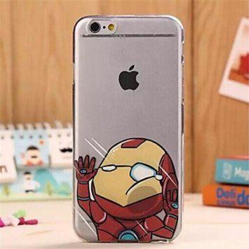 Lanerttch TPU silicone souple transparent verre Coque Cover Case pour iPhone 5/5S, Images drôles de bande dessinée/Homme De Fer.