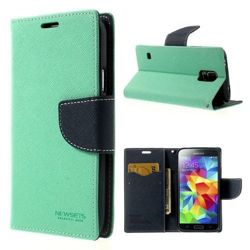 Mercury GOOSPERY Fancy Diary Leather Wallet for Samsung Galaxy S5 G900T G900P - Dark Blue / Cyan
