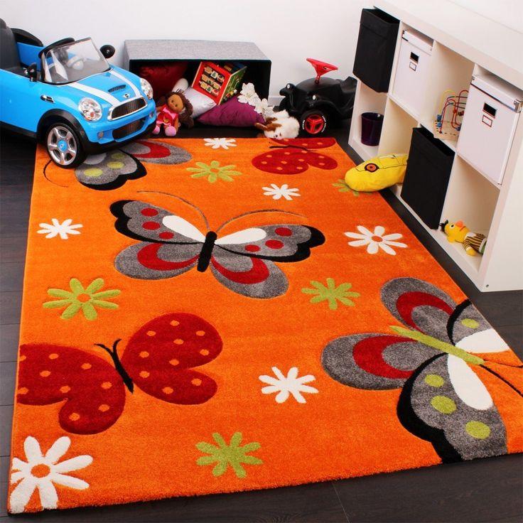 tapis pour enfant motif papillon tapis pour chambre denfant en orange crme vert rose