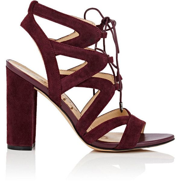 Sam Edelman Women's Yardley Suede Sandals ($65) ❤ liked on Polyvore featuring shoes, sandals, burgundy, burgundy sandals, suede lace up sandals, high heeled footwear, lace up block heel sandals and block heel shoes