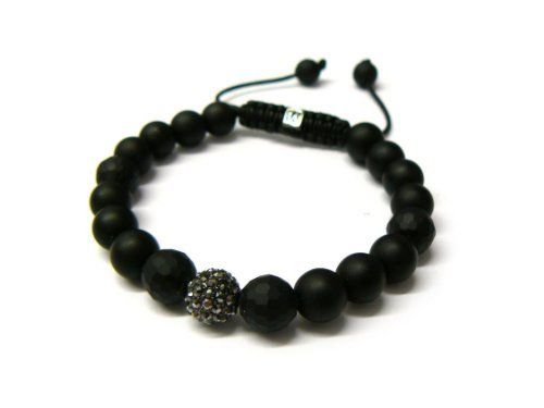 Black Shamballa 10mm Matte Finish Glass Beaded Bracelet with 1 Black Iced Out Disco Ball JOTW. $9.95. Great Quality Jewelry!. Unique adjustable pull string cobra stitched lanyard design.. 100% Satisfaction Guarunteed!