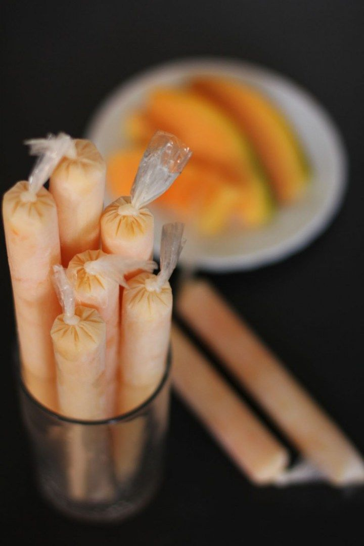 Melon Ice Candy - Ice Candy  is a summer treat famous in the Philippines. It similar to ice blocks or ice pops but instead of that ice treat served on a stick it is served in a long plastic containers.