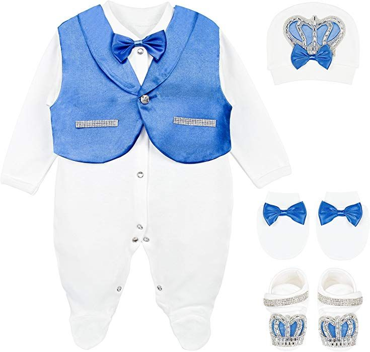 Amazon Com Lilax Baby Boy Jewels Crown Tuxedo Outfit Layette 5 Piece Gift Set 0 3 Months Royal Blue Wholesale Kids Clothing Kids Outfits Fancy Dress For Kids