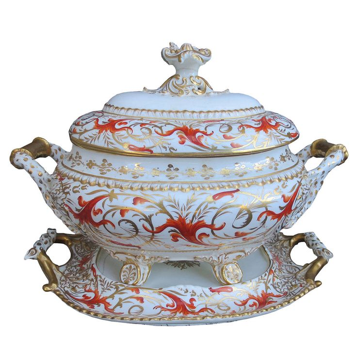Unmarked English Porcelain Tureen and Serving Plate with Gilt Detail | From a unique collection of antique and modern tureens at https://www.1stdibs.com/furniture/dining-entertaining/tureens/