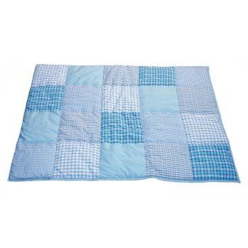 Laufgittereinlage & Krabbeldecke Patchwork blau 80x100cm