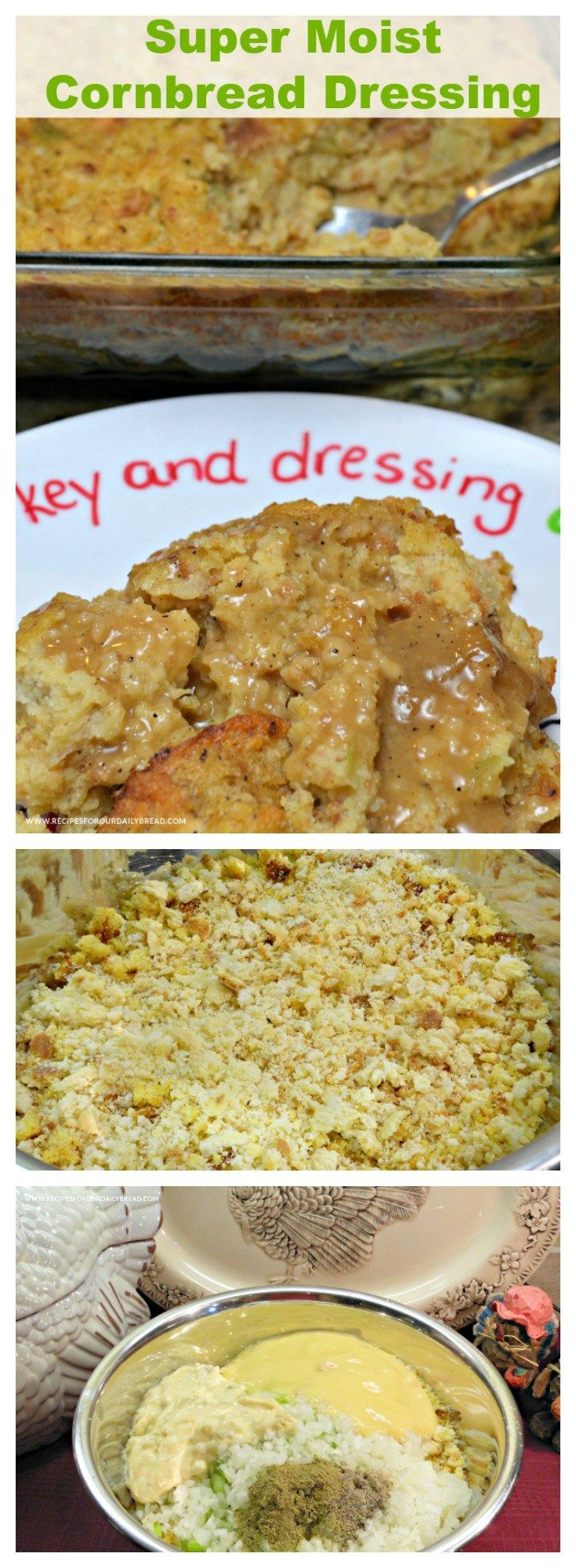 This is Super Moist Cornbread Dressing my favorite dressing. It includes cornbread, bread crumbs, celery, onion, soups, broth, eggs and poultry seasoning.