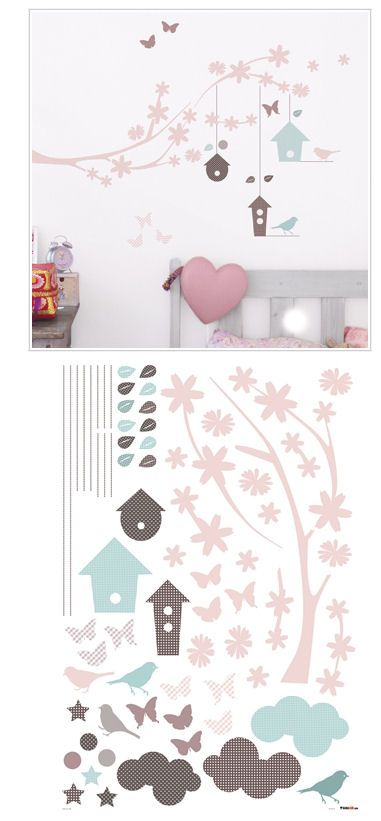 Branches and Bird Houses Wall Stickers - Wall Sticker Outlet
