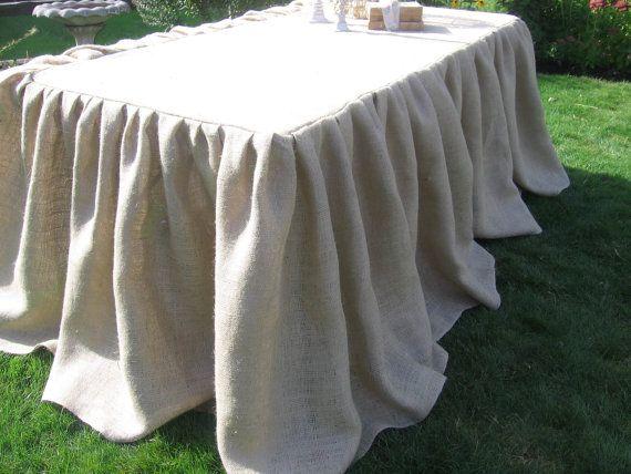 burlap ruffled tablecloth