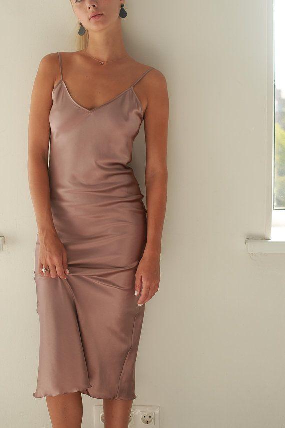 269e4c62bfe Silk bias dress Silk slip dress pink gold Pure silk camisole ...