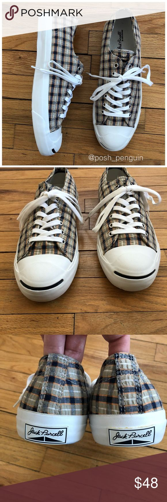 NEW Converse Jack Purcell LP OX Plaid Sneakers NEW Converse Jack Purcell LP OX Plaid Sneakers. Textured fabric upper in a checkered plaid pattern with signature Jack Purcell white toe caps. New without box. Only tried on and worn for a few min in the house. Only selling because they are too big on me. Photos are best descriptors. Size 10 Converse Shoes Sneakers