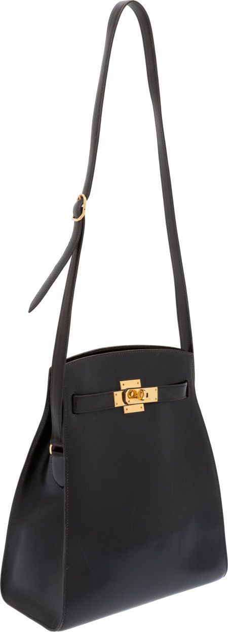 Hermes Vintage Black Calf Box Leather Kelly Sport Bag with Gold Hardware
