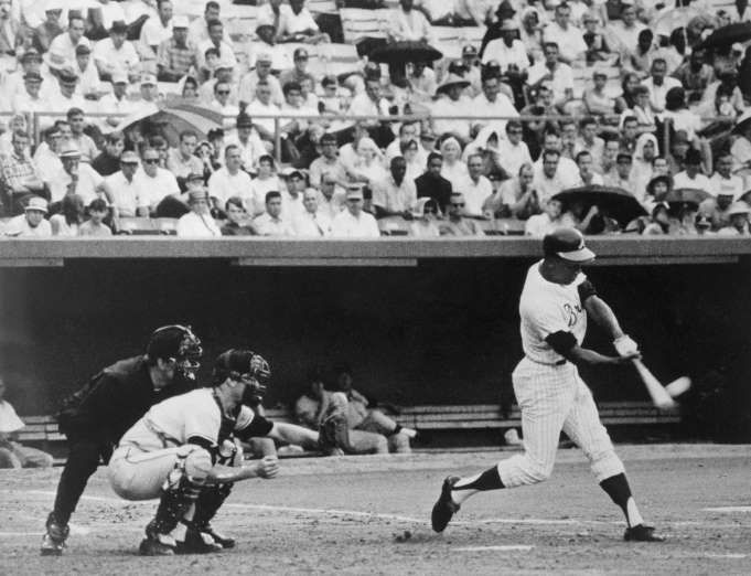 July 14,  1968: HANK AARON HITS HIS 500TH CAREER HOME RUN  -    Hank Aaron blasts his 500th career home run in the third inning of a game against the San Francisco Giants.