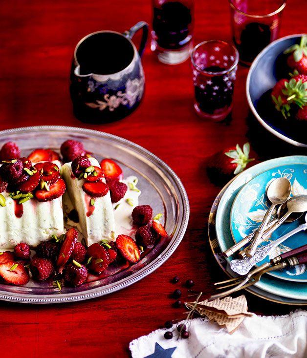 Australian Gourmet Traveller recipe for Pistachio ice-cream cake with red summer berries