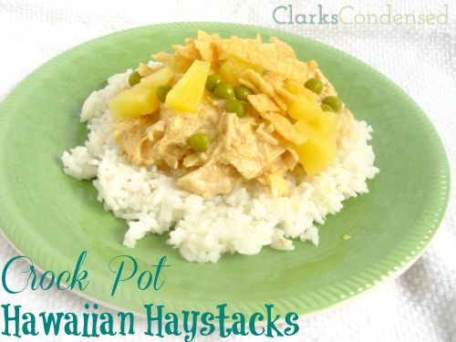 Crock Pot Hawaiian Haystacks -- creamy, easy, and delicious.(can be made without canned cream of chicken, or made dairy free) By Clarks Condensed