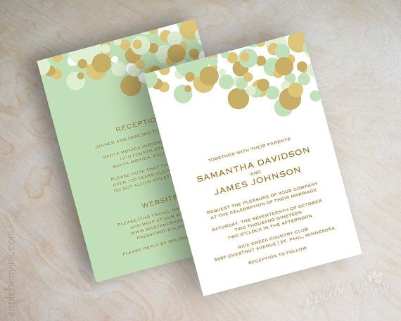 Mint green and gold polka dot wedding invitation, wedding invitations, modern, contemporary polka dot design, polka dots, mint wedding invites, Ken…   Mint Gre…