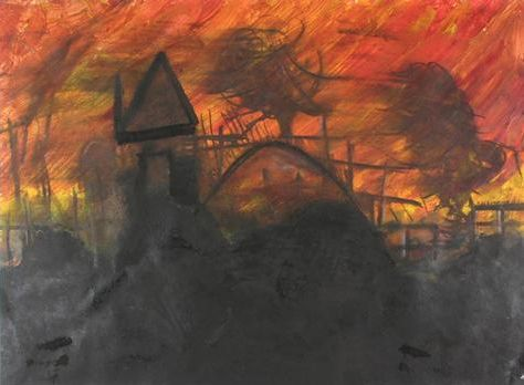bushfire artwork- could use charcoal and another medium focus on warm colours