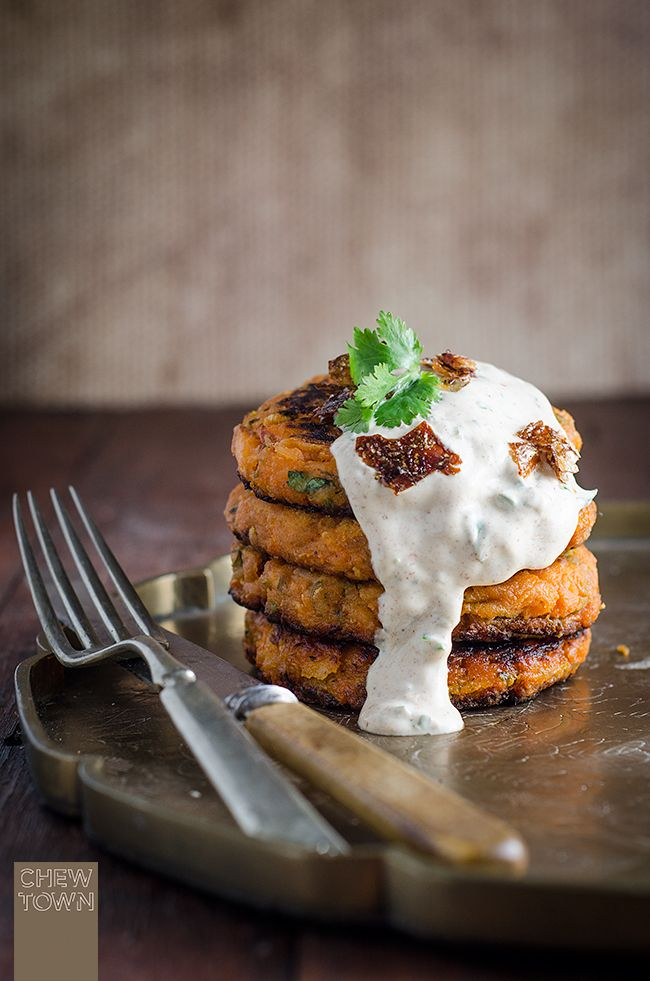 Hot Smoked Salmon and Sweet Potato Cakes with Spiced Yoghurt