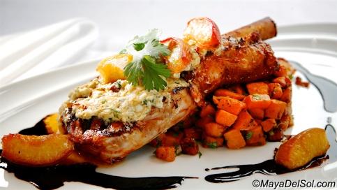 new weekly special | chuleta de becerro | 12 oz. bone-in veal chop · sweet potato hash · bleu cheese chipotle fondue · balsamic reduction · roasted peaches