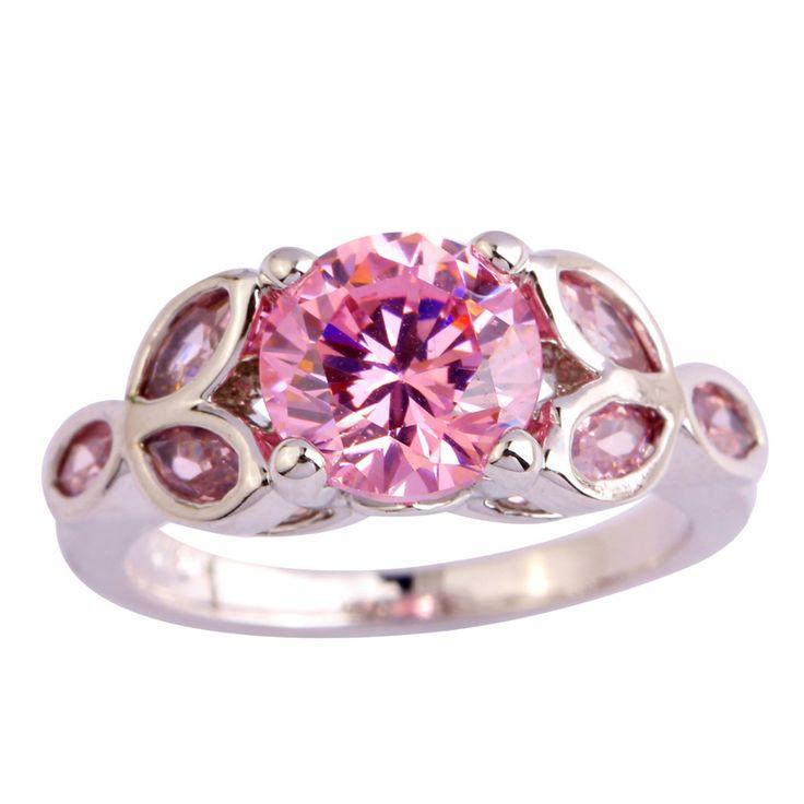 Новинка женщины ювелирные изделия новинка розовый топаз серебряное кольцо размер 6 7 8 9 10 11 оптовая продажа бесплатная доставка