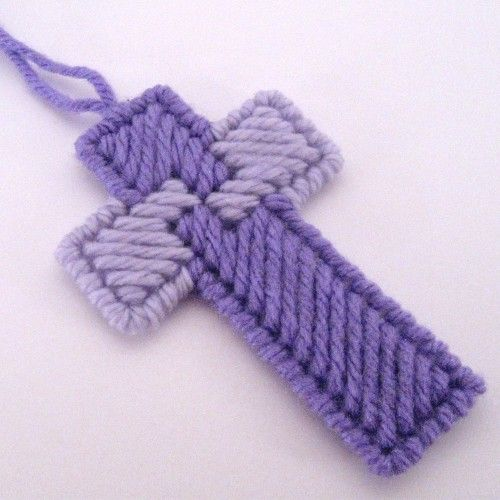 christmas ornaments made from plastic canvas | Shades of Purple Cross Ornament set of 6 | SuzanneMedrano - Seasonal ...